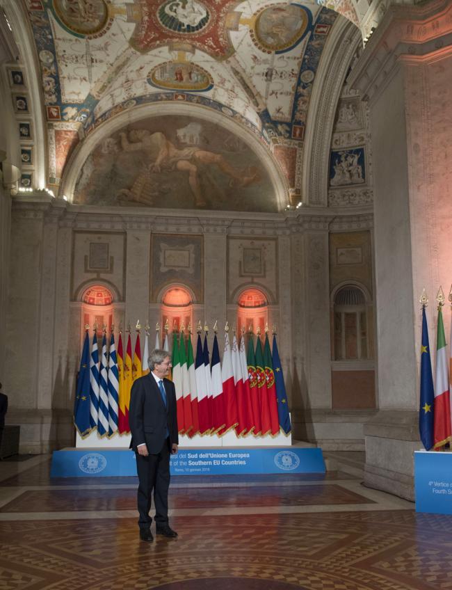 Gentiloni a Villa Madama per il 4° Vertice dei Paesi del Sud dell'Ue