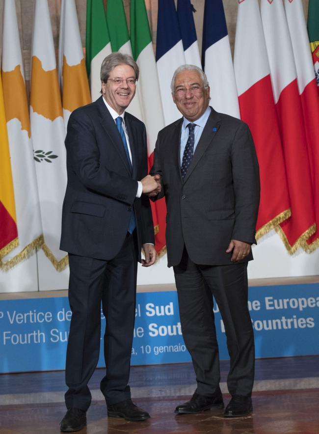 Il Presidente Gentiloni accoglie il Primo Ministro Costa al Vertice dei Paesi del Sud dell'Ue