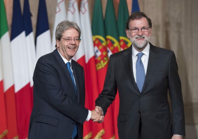 Il Presidente Gentiloni accoglie il Presidente Rajoy al Vertice dei Paesi del Sud dell'Ue