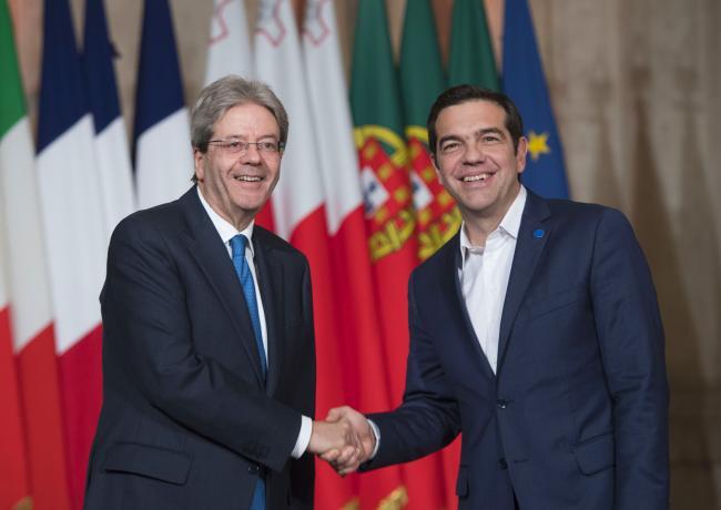 Il Presidente Gentiloni accoglie il Primo Ministro Tsipras al Vertice dei Paesi del Sud dell'Ue