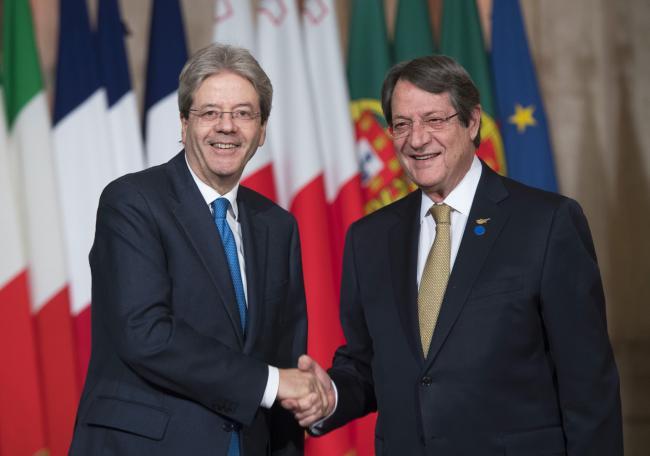 Il Presidente Gentiloni accoglie il Presidente Anastasiades al Vertice dei Paesi del Sud dell'Ue