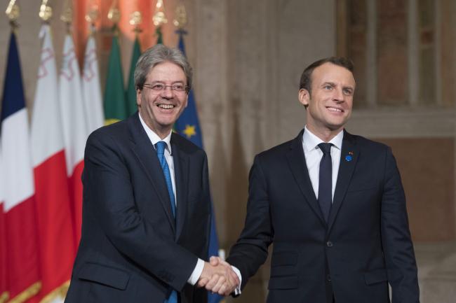 Il Presidente Gentiloni accoglie il Presidente Macron al Vertice dei Paesi del Sud dell'Ue