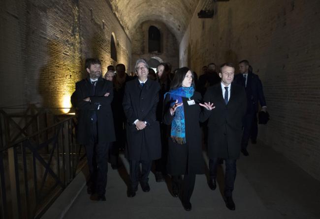 Gentiloni con Macron e Franceschini alla Domus Aurea