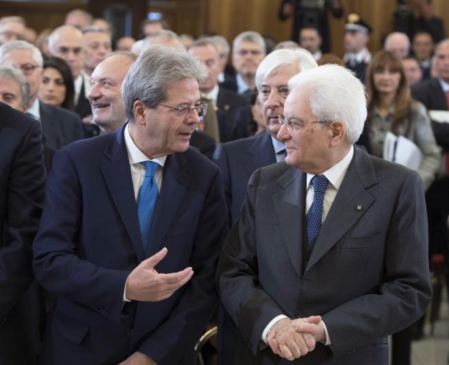 Il Presidente Gentiloni con il Presidente della Repubblica Mattarella alla Corte dei Conti