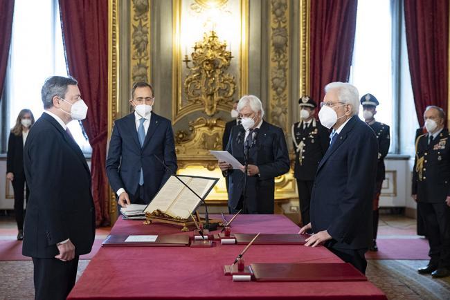 Il giuramento del Presidente Draghi al Quirinale
