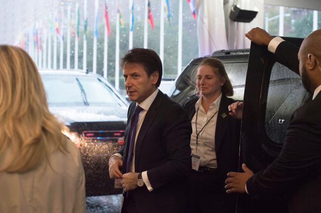 Il Presidente Conte al suo arrivo al Palazzo delle Nazioni Unite