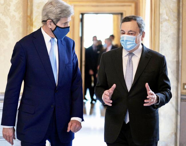 Draghi incontra l'Inviato Speciale del Presidente USA per il Clima, John Kerry