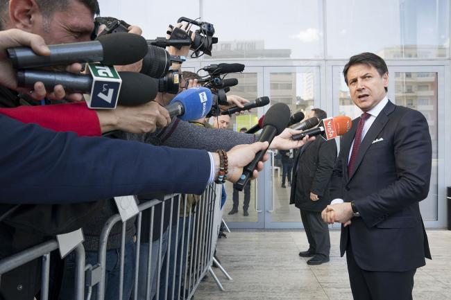 """Il Presidente Conte durante il punto stampa presso """"La Nuvola"""""""