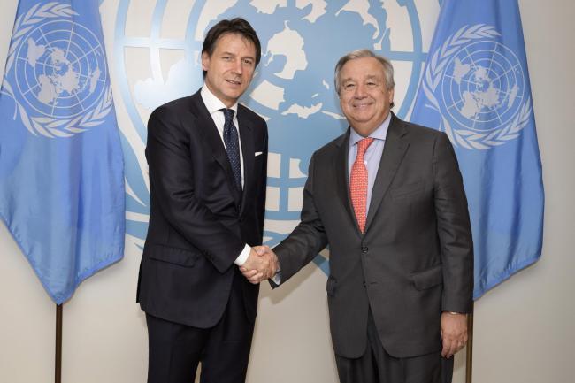 Il Presidente Conte con il Segretario Generale dell'Onu