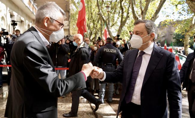 Il Presidente Draghi alla sede nazionale della CGIL