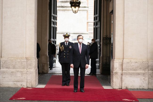 L'arrivo del Presidente Draghi a Palazzo Chigi