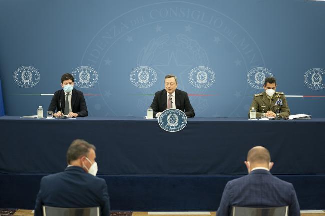 Conferenza stampa del Presidente Draghi con il Ministro Speranza e il Commissario Figliuolo