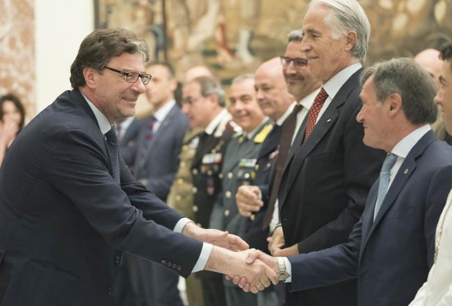 Il Sottosegretario Giorgetti incontra le atlete e gli atleti Fisi a Palazzo Chigi