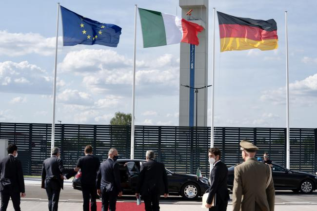 Il Presidente Draghi al suo arrivo a Berlino