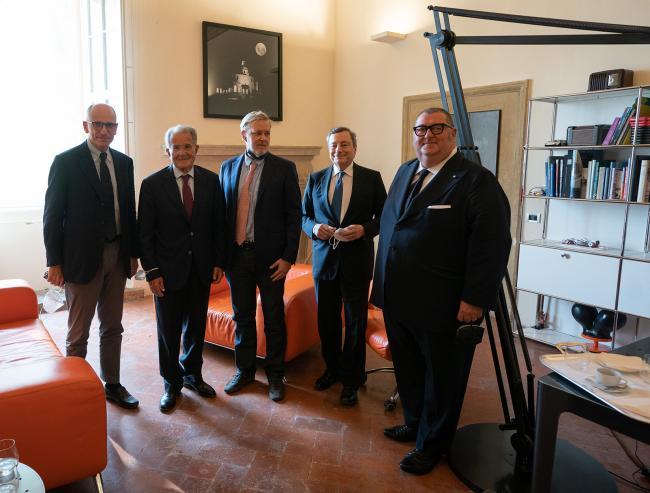 il Presidente Draghi alla cerimonia di intitolazione dell'Aula magna di Bologna Business School a Nino Andreatta