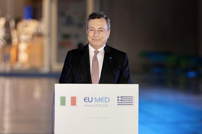 Il Presidente Draghi in conferenza stampa con i Leader EU MED 9