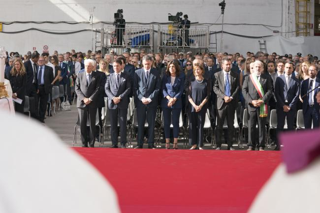 Cerimonia commemorativa delle vittime del crollo del ponte Morandi