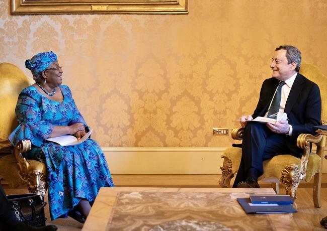Draghi incontra la Direttrice Generale del WTO Ngozi Okonjo-Iweala
