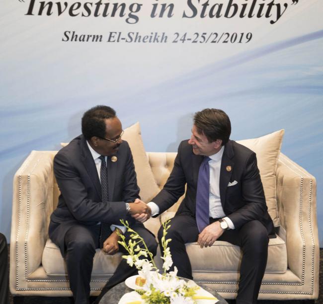 Il Presidente Conte con il Presidente della Repubblica Federale della Somalia