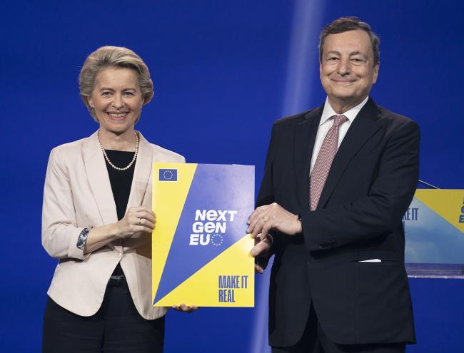Conferenza stampa congiunta Draghi - von der Leyen