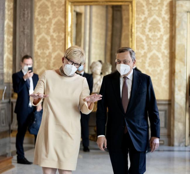 Draghi incontra la Primo Ministro della Repubblica di Lituania Ingrida Šimonytė