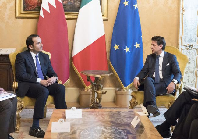 Il Presidente Conte incontra il Vice Primo Ministro e Ministro degli Affari Esteri dello Stato del Qatar
