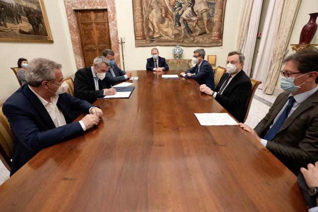 Draghi, Orlando e Parti sociali firmano intesa comune sul lavoro