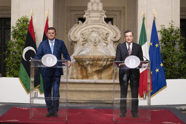 Il Presidente Draghi e il Primo MInistro Dabaiba durante le dichiarazioni alla stampa