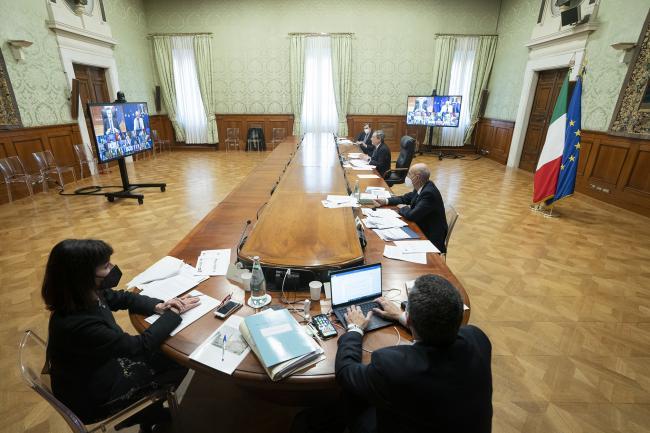 Il Presidente Draghi partecipa alla Videoconferenza dei membri del Consiglio europeo