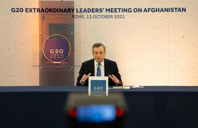 Draghi in conferenza stampa al termine della riunione straordinaria dei leader del G20 sull'Afghanistan
