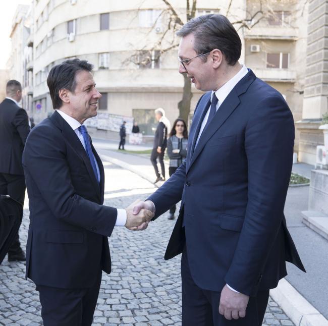 Il Presidente Conte con il Presidente della Repubblica di Serbia Vučić