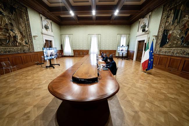 Draghi interviene alla Conferenza Unificata sul PNRR
