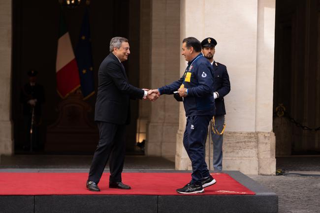 Draghi incontra le Nazionali Campioni d'Europa di Pallavolo