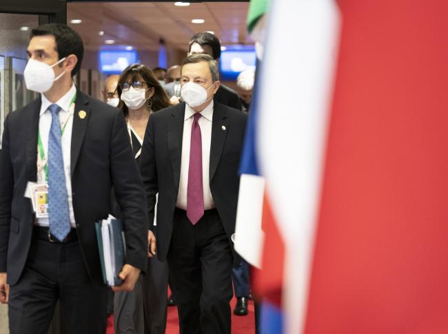 Draghi in conferenza stampa al termine dei lavori del Consiglio europeo e dell'Eurosummit