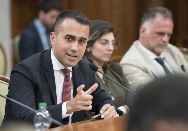 Il Vice Presidente Di Maio durante l'incontro tra Governo e parti sociali su lavoro e welfare