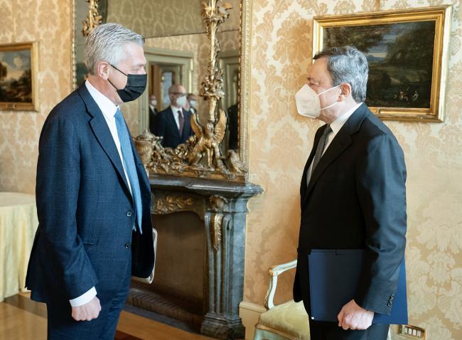 Draghi incontra l'Alto Commissario delle Nazioni Unite per i Rifugiati, Filippo Grandi