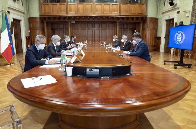 Il Presidente Draghi incontra i segretari generali di Cgil, Cisl e Uil