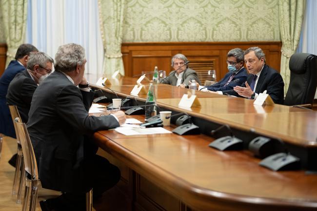 Il Presidente Draghi incontra i Segretari generali di Cigl, Cisl e Uil