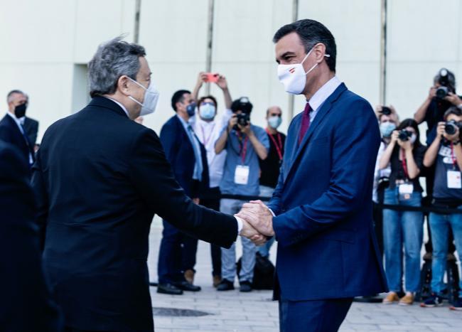 Il Presidente Draghi e il Presidente del Governo di Spagna Sanchez