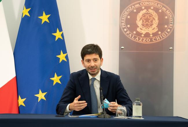 Il Ministro della Salute Roberto Speranza in conferenza stampa