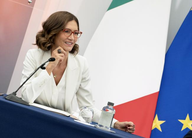 Il Ministro per gli Affari regionali e le Autonomie Mariastella Gelmini in conferenza stampa