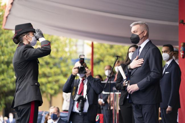 Il Ministro Guerini durante la cerimonia per il 207° Annuale di Fondazione dell'Arma dei Carabinieri
