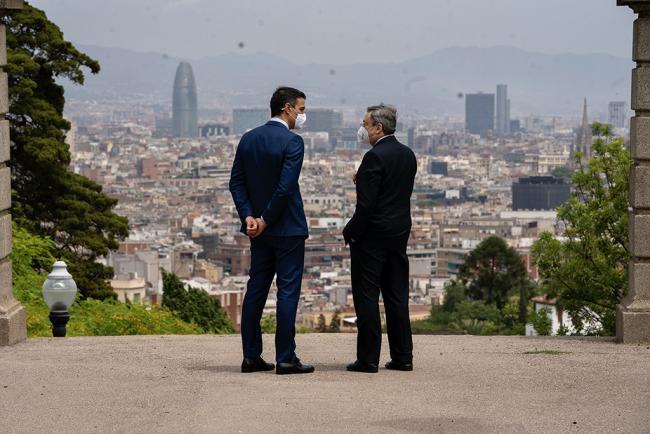 Incontro del Presidente Draghi con il Presidente Sanchez al Palacio Albéniz