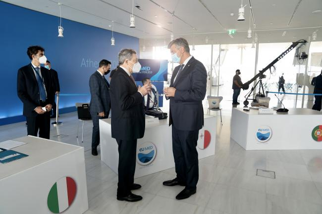 Il Presidente Draghi partecipa alla sessione di lavoro delvertice EU MED 9
