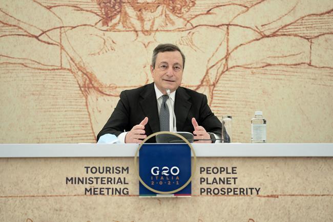 Turismo, Draghi apre conferenza stampa sulla riunione ministeriale G20