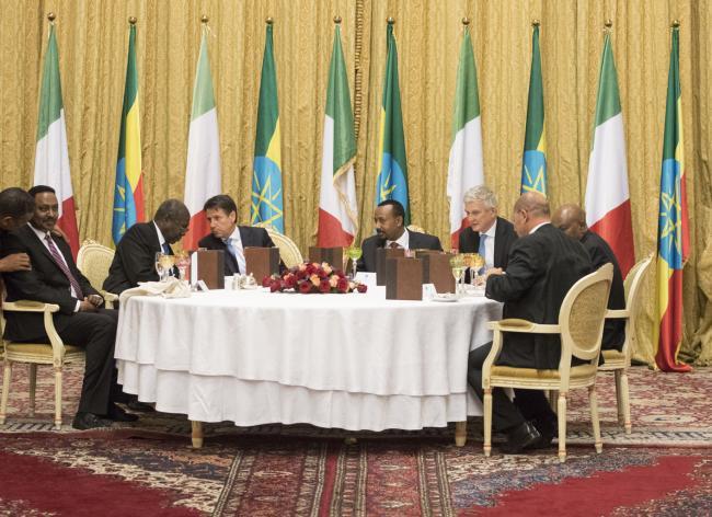 Il Presidente Conte con il Primo Ministro D'etiopia al National Palace