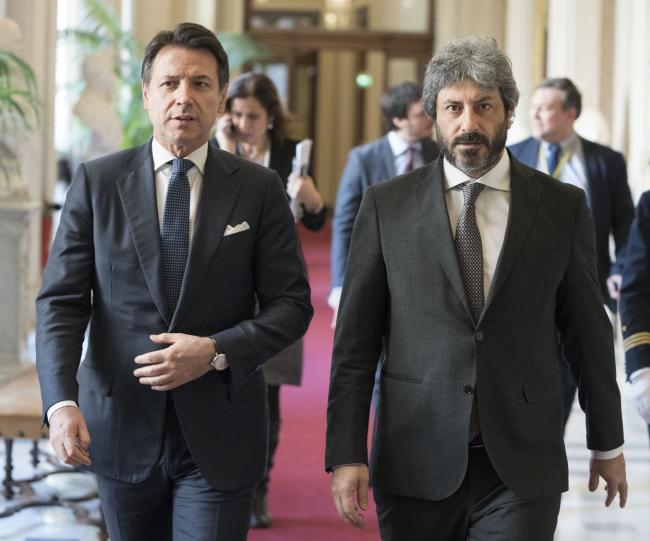 Il Presidente Conte con il Presidente della Camera Fico