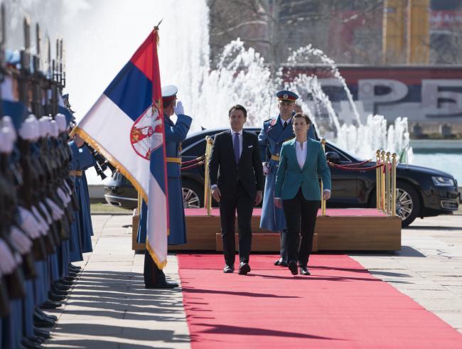 Il Presidente Conte con il Presidente del Governo della Repubblica di Serbia, Ana Brnabić