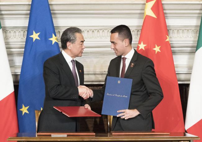 Cerimonia di firma di accordi tra Italia e Cina a Villa Madama