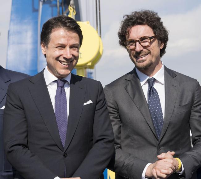 """Il Presidente Conte e il Ministro Toninelli all'inaugurazione dello stabilimento """"Fincantieri Infrastructure"""""""